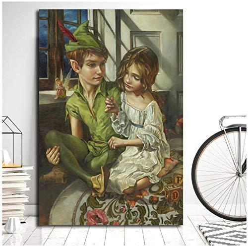Peter Pan y Wendy cosidos a su sombra Arte de la pared Carteles de la lona Impresiones Pintura Cuadros de la pared para el dormitorio de la oficina Decoración del hogar -40x60cm Sin marco