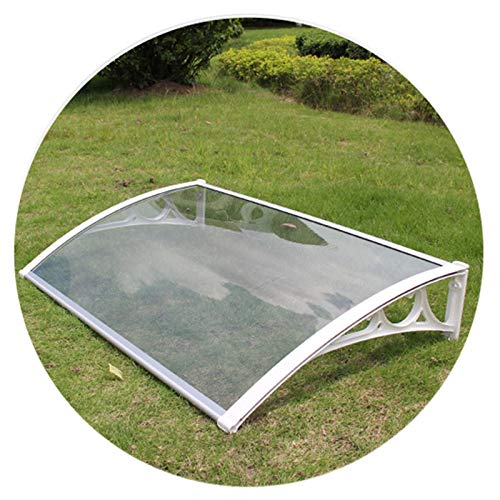 LICHUN Awning Rain Door Canopy, Rainproof And Windproof Strong Bearing Capacity, Outdoor Balcony Villa Rain Ride (Champagne Bracket Transparent Endurance Board) (Color : B, Size : 60X80CM)