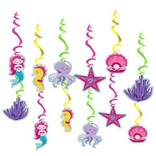 30 pcs Mermaid Hanging Swirls, Mermaid Themed Party Supplies, Marine Birthday Party Decorations
