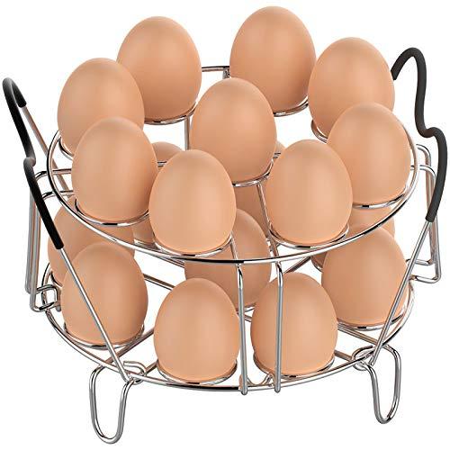 Eier-Dampfgarer-Gestell, stapelbar, Instant Pot Egg Rack mit hitzebeständigen Silikon-Griffen für 6, 8 Qt Ninja Foodi Zubehör Schnellkochtopf, Kochen 18 Eier Edelstahl Küche Dampfgarer Rack
