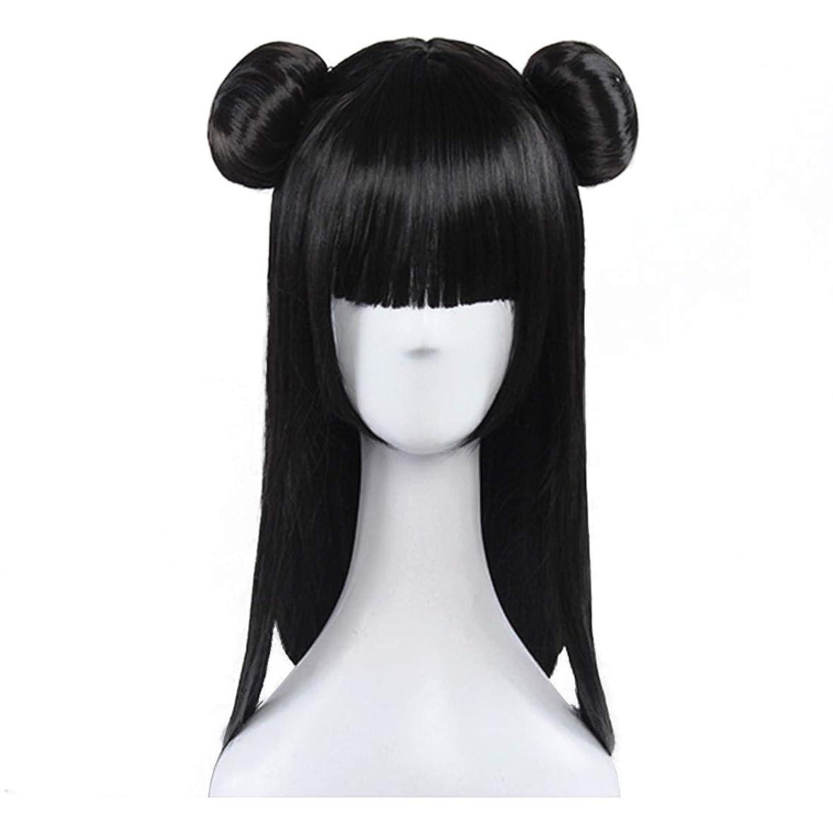 啓示シンジケートそれるBOBIDYEE 王女のコスプレかつら黒人格二重パンスタイリングロングヘアかつらアニメかつら合成髪レースかつらロールプレイングかつら (色 : 黒)