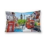 London Street View - Fundas de cojín para sofá, cama, hogar, habitación o coche, 20 x 30 pulgadas