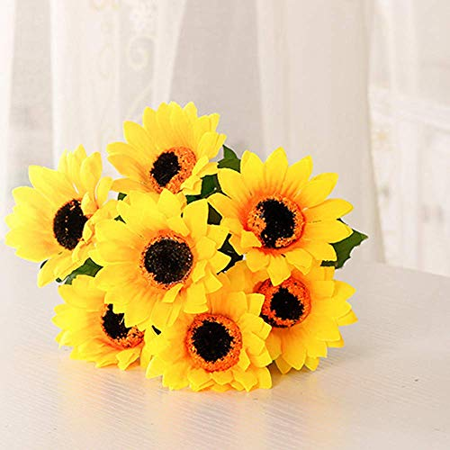 FLOVE 2 Bundles Artificial Sunflower Bouquet, Silk Sunflowers Yellow Fake Artificial Flowers for Home Decoration, Garden Craft, Wedding Decor, Bride Holding Flowers, Farmhouse Decor (Yellow, 2 Pack)