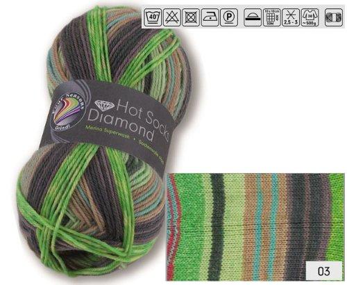Doppelpack 2 x 50 gr. Gründl Hot Socks Diamond Farbe 03 Sockenwolle mit Merino / Merinowolle