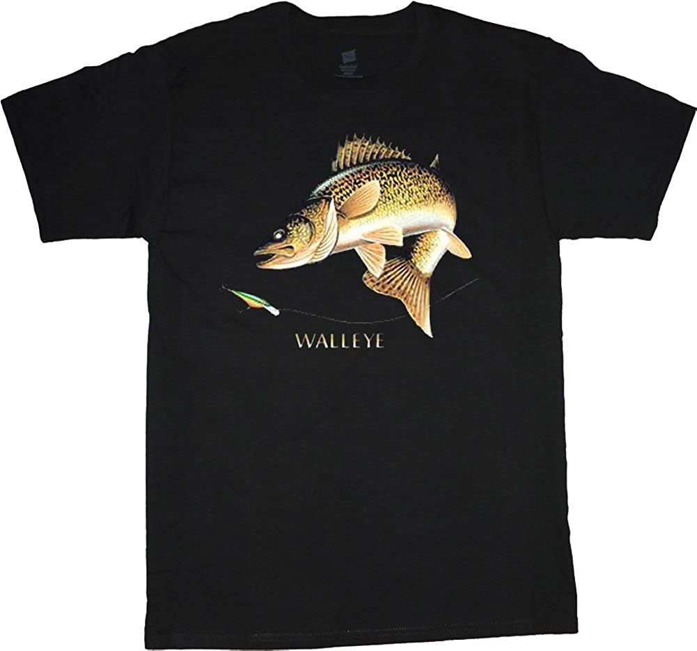 Decked Out Duds Big and Tall Shirt Walleye Fishing Decal tee