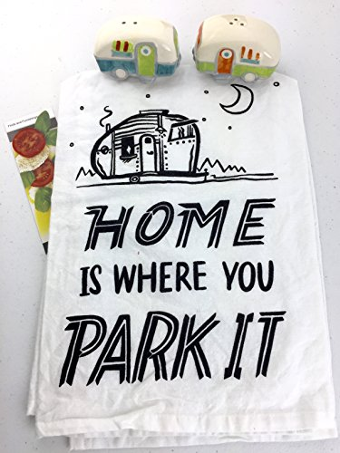 RV Camper Salt and Pepper Shakers Camper Dish Towel Home Is Where You Park It Kitchen Cookbook Bookmark 3 Piece Bundle