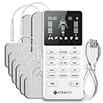 TENS Unit Muscle Stimulator for Pain Relief, 4 Channels Etekcity Rechargeable Electric Pulse Massager for Back Shoulder Sciatica, Multi-Modes 8 Electrode Pads, OTC Electrotherapy FDA Cleared