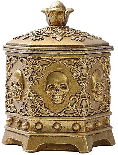 Caja de Almacenamiento de joyería con Cabeza de Esqueleto de Resina Caja de Cadena de Anillo de Collar Vintage para decoración de Calavera de Halloween Decoración del hogar de Escritorio