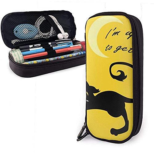 Ich bin die ganze Nacht auf, um Glück zu haben Niedlicher Stift Federmäppchen Ledertasche Federmäppchen Mit Doppelreißverschlusshalter Box Für Schulbüro Mädchen Jungen Erwachsene