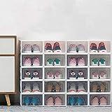 Caja de almacenamiento de zapatos apilable, 20 unidades, organizador de zapatos de plástico transparente, caja de zapatos plegable y versátil