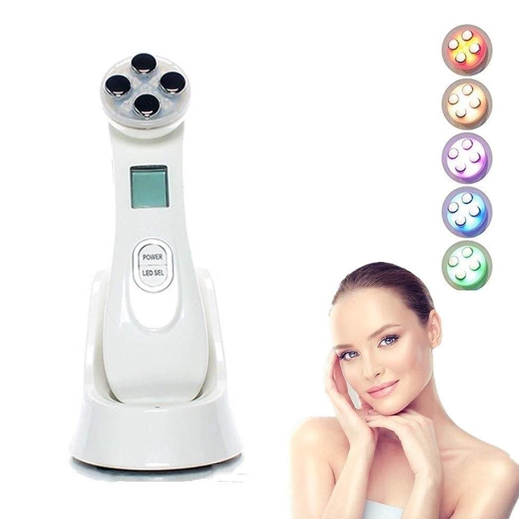 安息和らげる厚いしわの取り外しを白くする美の器械、顔機械および1つの赤いLED光線療法に付き5つおよび6つのモード顔のマッサージャーのスキンケアの顔の洗剤にきびのアンチエイジング