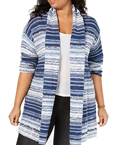 Style & Co. Womens Plus Striped Marled Cardigan Sweater Blue 2X