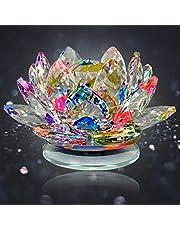 Reiki Crystal Products Vastu - Fengshui Transparent Crystal Lotus for Positive Energy A Gift Item for Good Luck & Prosperity