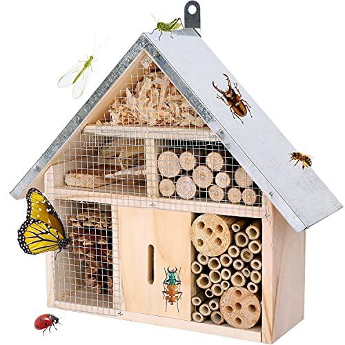 Itslife Casetta per insetti in legno naturale da appendere, in legno massiccio avvitato, per api e coccinelle, mosche e farfalle, hotel per api e nidificazione
