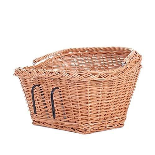 Fahrradkorb, Korb für EIN Fahrrad, Retro Fahrrad Korb Vintage Stil, Fahrradkorb aus Weide für Lenker mit Windschutz 46 cm, Weidentransporter für EIN Fahrrad, Einkaufskorb