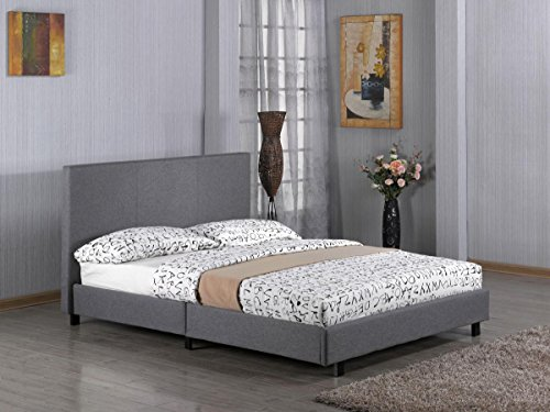 Kelsey Stores 3ft, 4ft, 4ft6, 5ft Fusion Grey Linen Fabric Bed Double Single King Size Bed (4FT Small Double Bed)