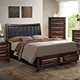 Roundhill Furniture Broval 179 Light Espresso Finish Wood King Size Storage Platform Bed