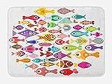 Ambesonne - Alfombrilla de baño, diseño de Peces subacuáticos, diseño de Fauna exótica, Felpa para decoración de baño,...