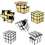 6 Pack Mirror Speed Cubes - Puzzle 3x3x3 Gold and Silver Mirror Magic Cube Bulk Set - Kids Brain Teaser Party Favors