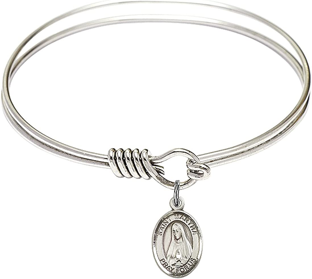 Round Eye Hook Tampa Mall Bangle Bracelet w Martha Silver Max 78% OFF Sterling St. in