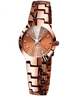Fashionable Couple Watch with Coffee Alloy Strap Crystal Dial Date Function Wrist Watch for Lovers