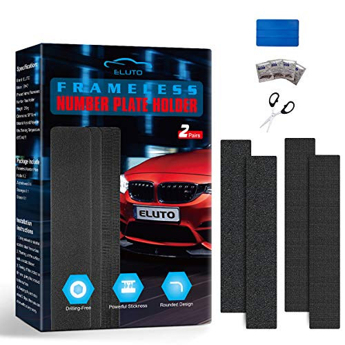 ELUTO 2x Frameless Licence Plate Set Weatherproof adhesive Cuttable Fastener for Every Car