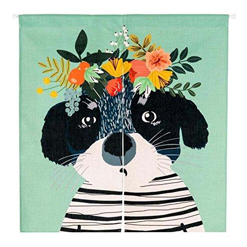 Couronnes de fleurs Dog Half Green Door Curtain pour la maison, bureau