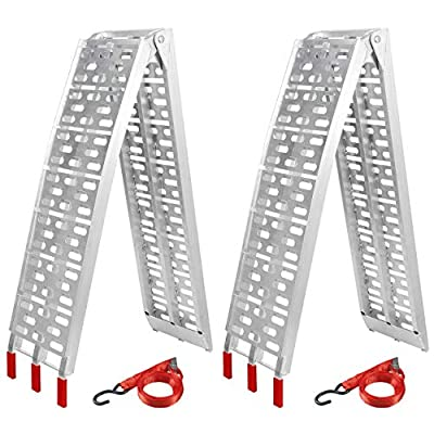 Smartxchoices Pair 7.5' Folding Truck Ramps Aluminum Trailer Loading Ramps w/Straps for ATV UTV Motorcycle Snow Blower Lawn Mower Pickup 1500lb Capacity