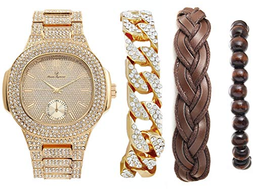Iced Out Oblong Mens Gold Watch, Accessorized w/Fashionable Versatile Bracelets -Fabric Braided Bracelet,Wooden Beads, Iced Cuban Bracelet - Perfect Touch for The Best Dressed Man - 8475BBCGldBwn
