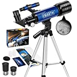 Emarth Telescope, 70mm/360mm Astronomical Refracter Telescope with Tripod & Finder Scope, Portable Telescope for Kids Beginners Adults (Blue)