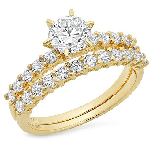 3.1 CT Round Cut Pave Halo Bridal Engagement Wedding Ring band set 14k Yellow Gold, Size 4