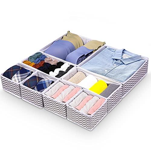 8 Panier Tissus Rangement Boîte de Rangement Pliable Ouvertes Organiseur de Tiroir en Tissu avec 3 Tailles pour Chaussettes, Soutien-gorge, Jouets, vêtements de bébé