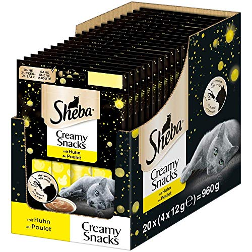 Sheba Creamy Snacks – Cremiges Katzen-Leckerli mit Huhn – Praktische Sticks zum aus der Hand Schlecken – 80 x 12g Katzenleckerchen
