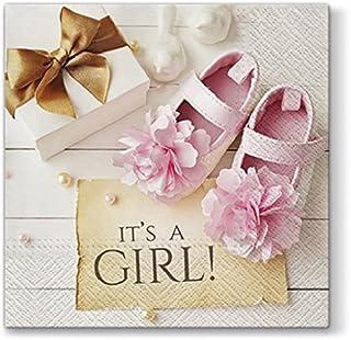 20 servetten Its a Girl roze / baby / meisje / geboorte / doop 33x33cm