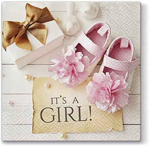 20 Servietten Its a Girl rosa / Baby / Mädchen / Geburt / Taufe 33x33cm