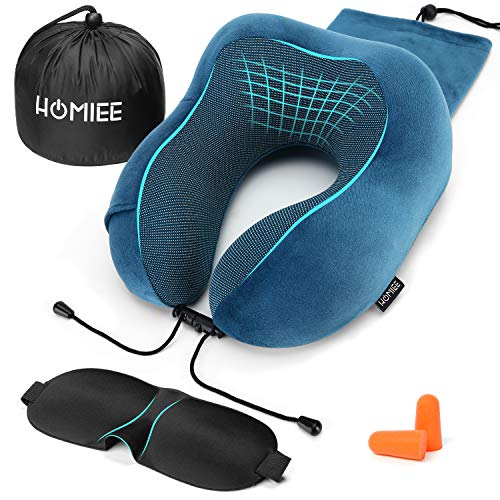 HOMIEE Reisekissen, Nackenkissen Memory Foam, Nackenstützkissen Reisekissen-Essentials, Schlafmaske, Ohrenstöpsel und tragbare, ideal für Reisen und Flüge (Eingebaute Aufbewahrungstasche)