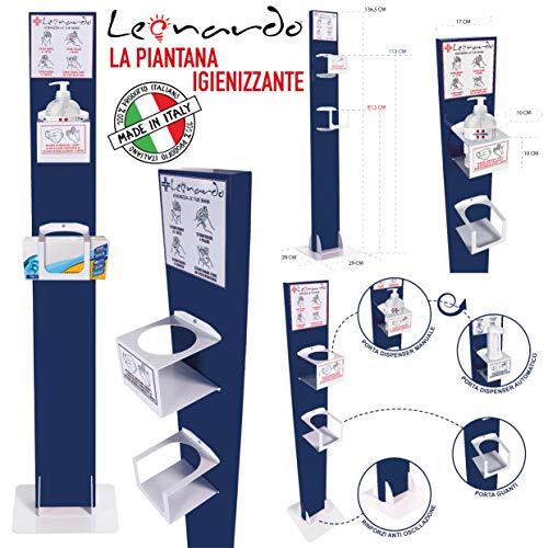 LEONARDO COLONNINA/PIANTANA IN METALLO DISPENSER/DISTRIBUTORE PER GEL IGIENIZZANTE MANI ADATTA A NEGOZI,AZIENDE-LEO6060 colonna amuchina, gel mani MADE IN ITALY misura 136,5x29x29