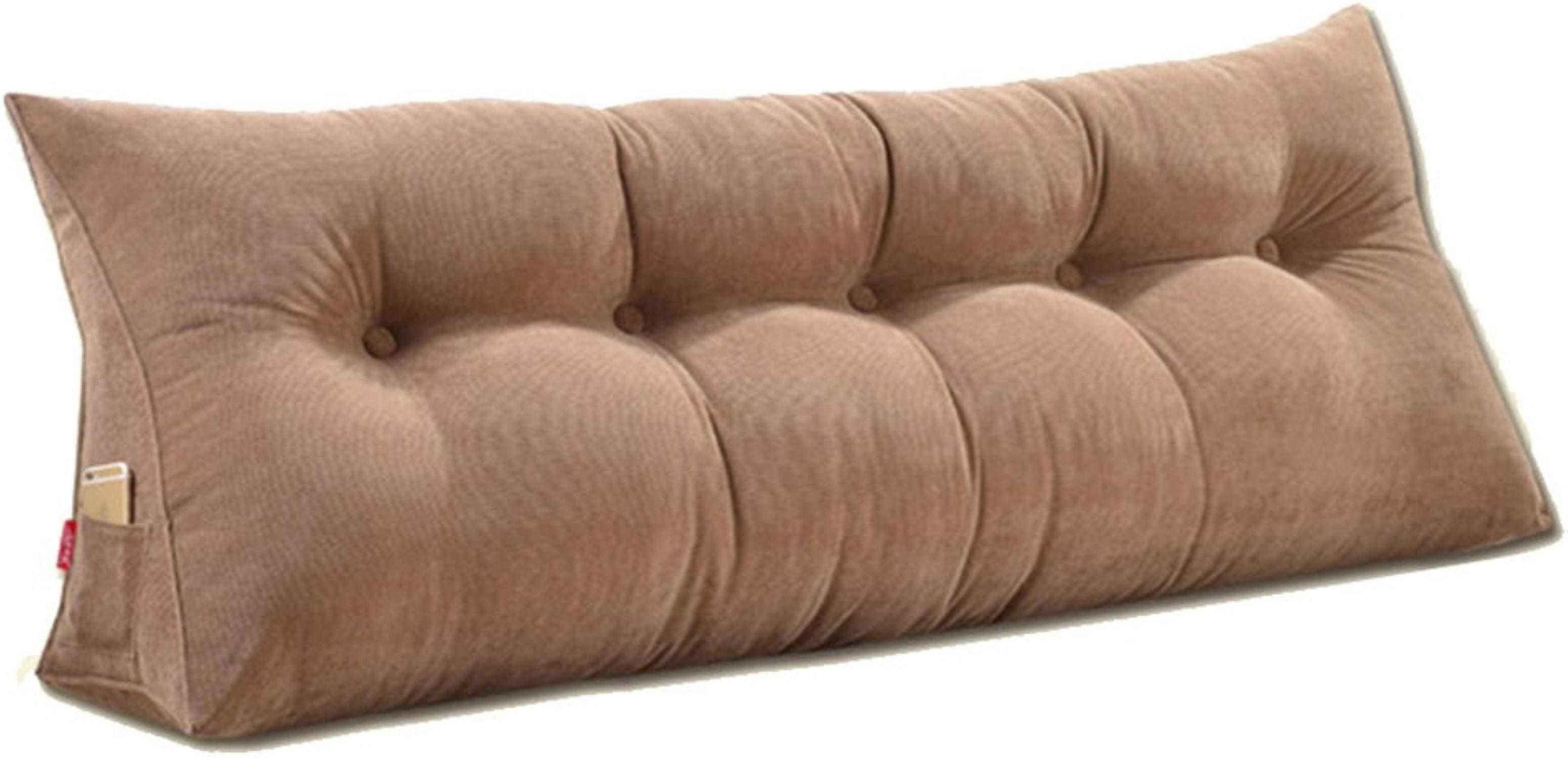 KD Coussin de chevet triangle triangle grand canapé arrière coussin oreiller lombaire boucle d'oreiller facile à laver multi-fonction, 5 couleurs, 6 tailles home (Couleur   marron, Taille   100×50×20cm)
