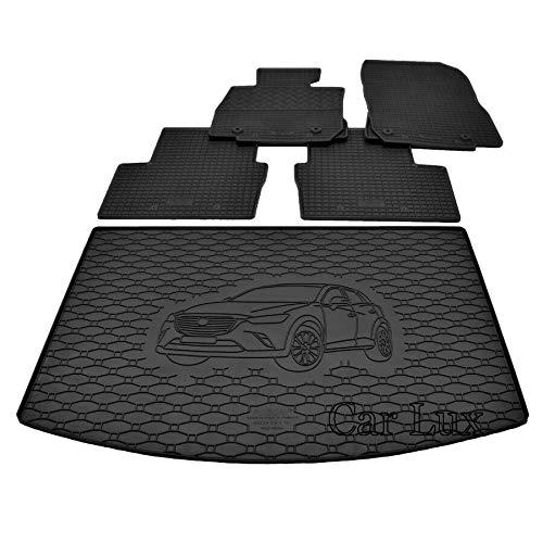 Car Lux DUO06049 - Alfombra Protector Cubre Maletero y Alfombrillas de Goma a Medida para Mazda CX-3 CX3 Desde 2015-