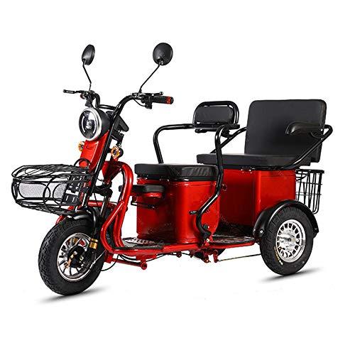 WOkismx Adulto Motocicleta eléctrica/minusválidos Tres Ruedas Scooter eléctrico 600W 48V 12,5 AH eléctrico Triciclo Vespa con batería extraíble,Rojo