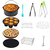 8 Inch Air Fryer Accessories XL 11 PCS Set,for PHILIPS/GOWISEUSA/COZYNA/COSORI/NINJIA and All Air Fryers Above 3.7Qt, Non-Stick Coating with BPA-Free