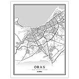 guatan Leinwand Bild,Algerien Oran Stadtplan Schwarz Weiß