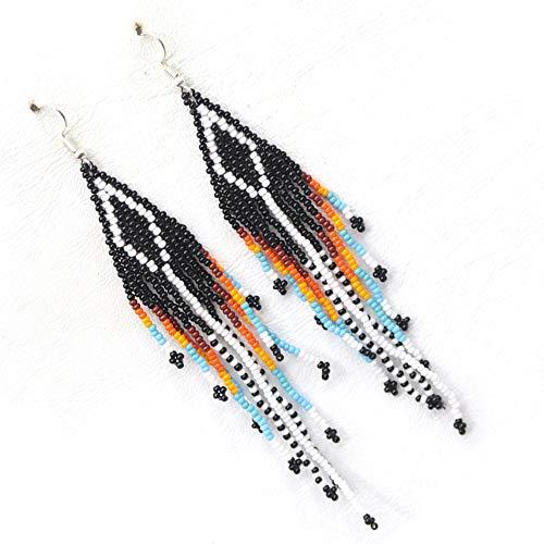 Handmade Seed Beads Beaded Native style Black Multi-color Hook earrings [E-61-SB-1]