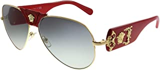 Versace Baroque VE 2150Q 100211 Gold Red Leather Metal Aviator Sunglasses Grey Gradient Lens