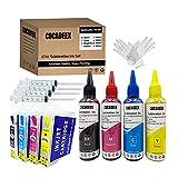 COCADEEX Kits de recarga de tinta de sublimación 27XL compatibles con impresora WorkForce WF3640 WF7110 WF7610 WF7620 WF7720 WF7715 WF7710 WF7210, para tazas, camisas de poliéster, almohadas, platos