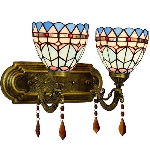 DALUXE Tiffany Lámpara de Pared británica Retro Azul Oscuro Dormitorio Noche Doble Cristal lámpara de Pared Hotel Doble Cristal lámpara de Pared