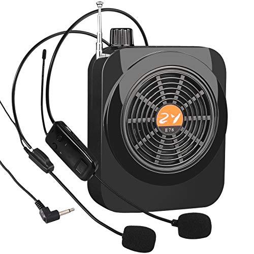 25W Amplificador de Voz Micrófono Inalámbrico y con Cable, Radio FM Altavoz Bluetooth Portátil Recargable de 2000 mAh para Profesores, Guías Turísticas y Actividades Al Aire Libre