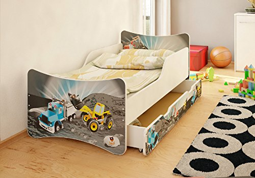 BEST FOR KIDS- Children's Bed WITH DRAWER AND WITH 10 CM MATTRESS TÜV CERTIFIED SUPER SELECTION 4 SIZES MANY DESIGNS (70x140, Hearts)