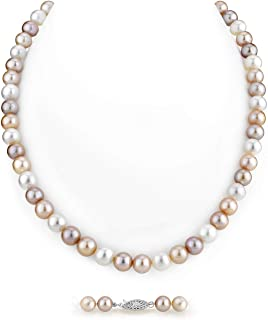AAA Quality Round Multicolor Freshwater Cultured Pearl Necklace for Women