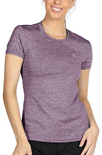 icyzone Sport T-Shirt Damen Kurzarm Laufshirt - Atmungsaktive Fitness Gym Shirt Schnell Trockened Funktionsshirt (XL, Lavender)